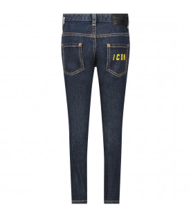 Black ''Twist'' jeans with white logo for boy