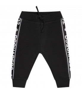 Black babykids sweatpant with white logo