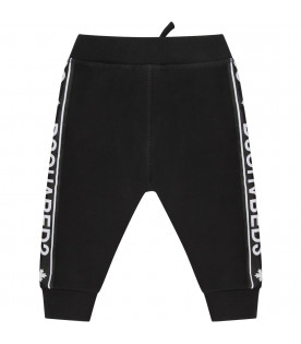 DSQUARED2 Black babykids sweatpant with white logo