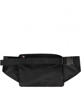 DSQUARED2 Black kids bum bag with white ''Icon'' writng