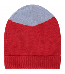 Red and light blue kids hat