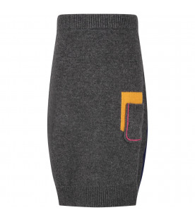 MARNI KIDS Grey and blue girl skirt with fucshia logo