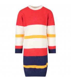 Multicolor girl dress with blue logo