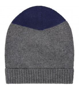 Grey and blue kids hat