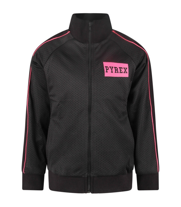 PYREX KIDS Black girl sweatshirt with fucshia and black logo