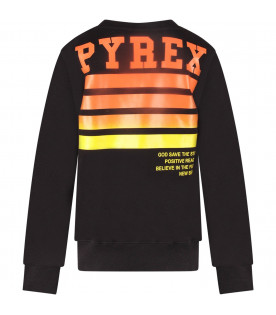 PYREX KIDS Black boy sweatshirt with white logo and orange stripes
