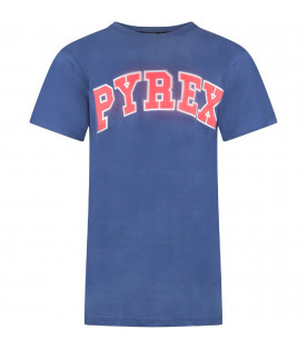 PYREX KIDS Blue boy T-shirt with red and white logo