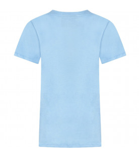 Light blue boy T-shirt with red and white logo