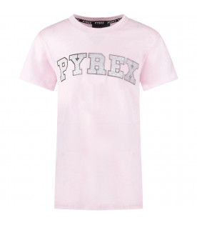 Pink girl T-shirt with silver logo