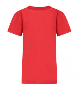 Red girl T-shirt with silver logo
