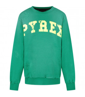 PYREX KIDS Green boy sweatshirt with neon yellow logo