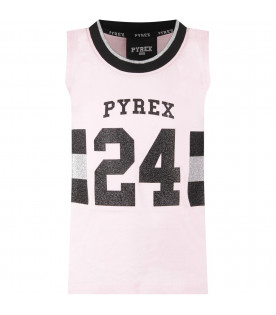 Pink girl tank top with black logo and number