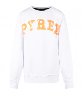 PYREX KIDS White kids sweatshirt with orange logo