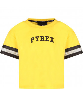 Yellow girl T-shirt with black logo and number