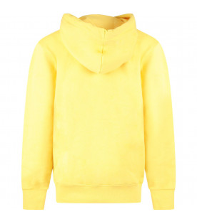 PYREX KIDS Yellow kids sweatshirt with white and black logo