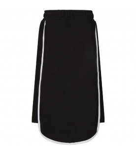 PYREX KIDS Black girl midi skirt with white logo