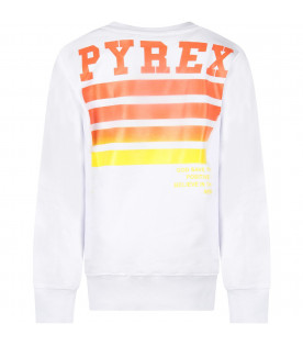 PYREX KIDS White boy sweatshirt with black logo and orange stripes