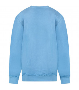 PYREX KIDS Light blue kids sweatshirt with black logo
