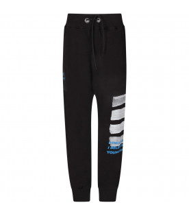PYREX KIDS Black boy sweatpants with white logo and stripes