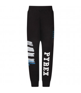 Black boy sweatpants with white logo and stripes