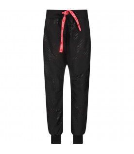 PYREX KIDS Black boy pants with black all-over logo