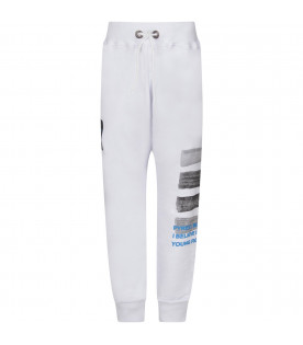 PYREX KIDS White boy sweatpants with black logo and grey stripes