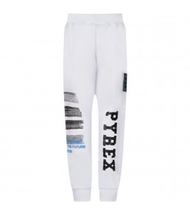 White boy sweatpants with black logo and grey stripes