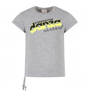 Grey girl T-shirt with black and neon yellow logo