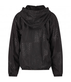 Black girl bomber jacket with all-over logo