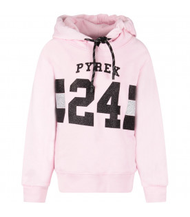 PYREX KIDS Pink girl sweatshirt with black logo and number