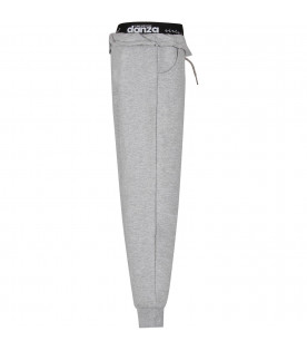 Grey girl sweatpants with neon yellow star and logo