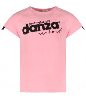 Pink girl T-shirt with black logo and stripes