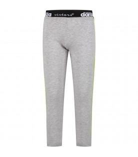 Grey girl leggings with white logo