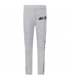Grey girl leggings with black logo