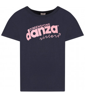 Blue girl T-shirt with pink logo