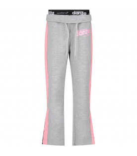 Grey girl sweatpants with pink stripes and logo