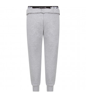 Grey girl sweatpants with black logo