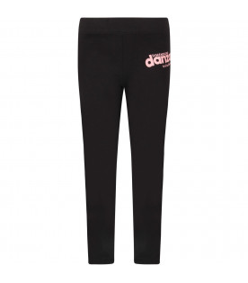 Black girl leggings with pink logo