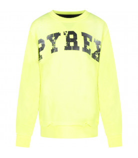 PYREX KIDS Neon yellow kids sweatshirt with black logo