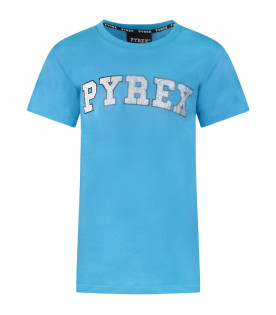 Light blue girl T-shirt with silver logo