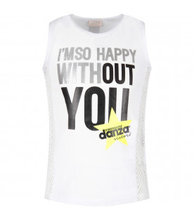 White girl tank top with black logo and neon yellow star
