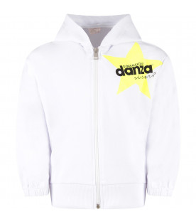 White sweatshirt for girl with neon yellow star and black logo
