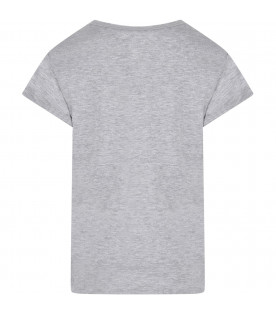 DIMENSIONE DANZA Grey girl T-shirt with silver logo and print