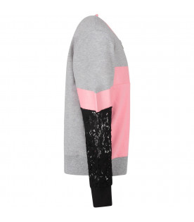 DIMENSIONE DANZA Grey and pink girl sweatshirt with black logo