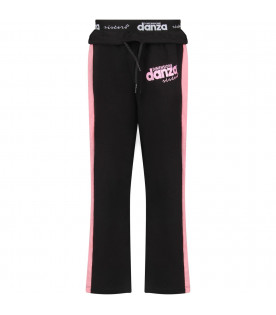 Black girl sweatpants with pink stripes and logo