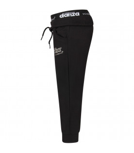 DIMENSIONE DANZA Black girl sweatpants with silver logo