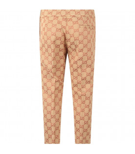 GUCCI KIDS Beige boy pant with iconic GG