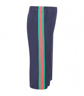 Blue girl pants with red and green Web detail