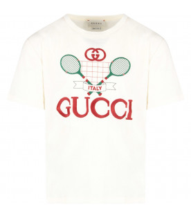 GUCCI KIDS Ivory kids T-shirt with red logo