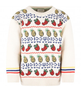 GUCCI KIDS Ivory kids sweater with blue logo